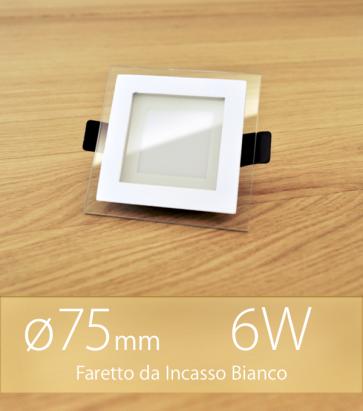 """Faretto da Incasso Quadrato """"White Halo"""" 6W BIANCO CALDO (Lampada Downlight)"""