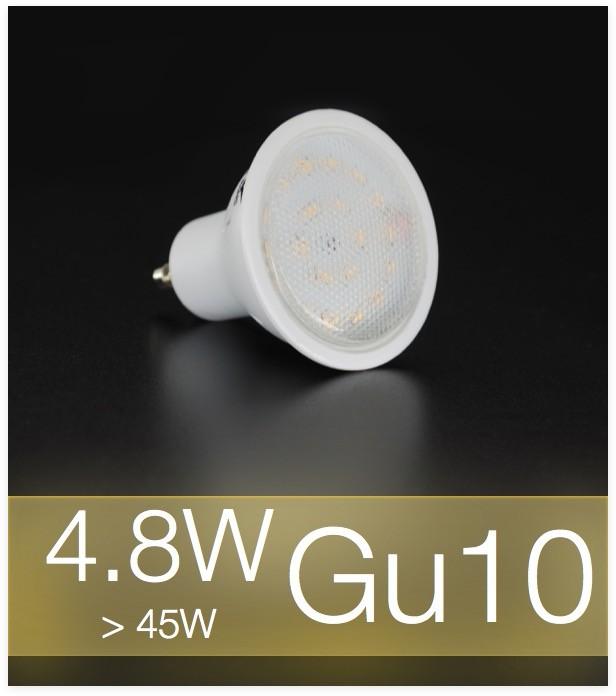 lampadina faretto led gu10 smd3014 4 8w bianco caldo. Black Bedroom Furniture Sets. Home Design Ideas