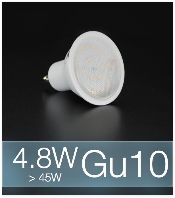 lampadina faretto led gu10 smd3014 4 8w bianco freddo. Black Bedroom Furniture Sets. Home Design Ideas