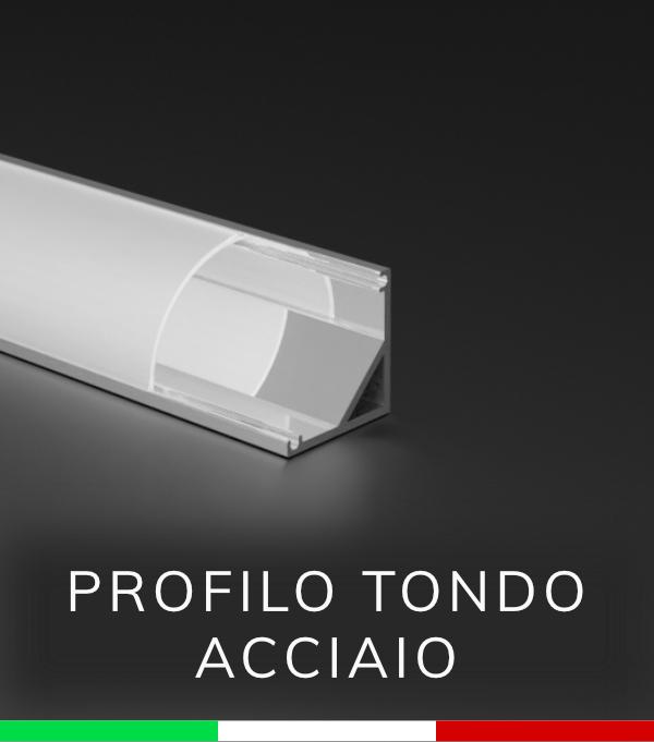 Profilo Angolare tondo in alluminio per Strisce LED Ossidato ACCIAIO