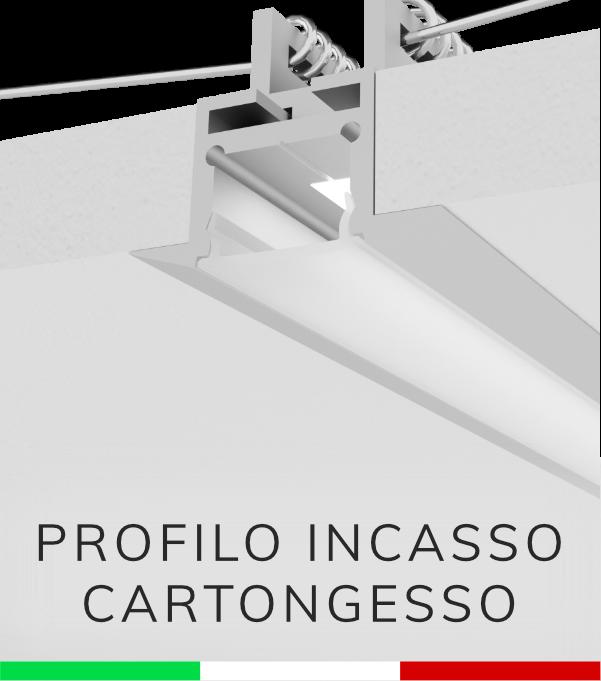 Profilo In Alluminio Da Incasso Rapido Nel Cartongesso Per Strisce
