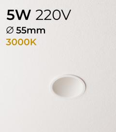 Faretto LED da Incasso recesso Bianco - 5W - Bianco Caldo 3000K