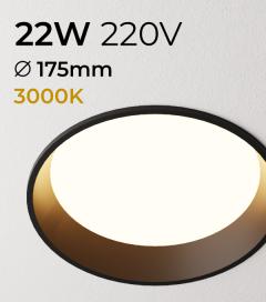 Faretto LED da Incasso recesso Nero - 22W - Bianco Caldo 3000K