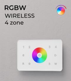 Controller RGBW Touch da Parete a 4 Zone Wireless - per strisce LED - Bianco o Nero