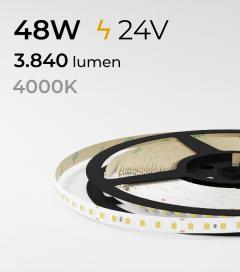 "Striscia LED 2835 ""ECO"" - 24V - 5 Metri - 48W - SMD2835 120 LED/m - Bianco NATURALE - 4000K"