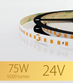 "Striscia LED 2835 ""PRO"" - 24V - 5 Metri - 75W - SMD2835 128 LED/m - Luce CALDA - 2700K"