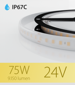 """Striscia LED 2835 """"PRO"""" - 5 Metri - 75W - SMD2835 128 LED/m - Bianco CALDO - 3000K - IP67C"""