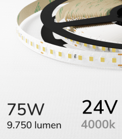 """Striscia LED 2835 """"PRO"""" - 24V - 5 Metri - 75W - SMD2835 128 LED/m - Bianco NATURALE - 4000K"""