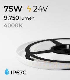"""Striscia LED 2835 """"PRO"""" - 5 Metri - 75W - SMD2835 128 LED/m - Bianco NATURALE - 4000K - IP67C"""