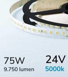"Striscia LED 2835 ""PRO"" - 24V - 5 Metri - 75W - SMD2835 128 LED/m - Bianco FREDDO - 5000K"