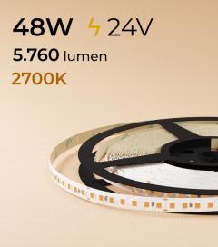 "Striscia LED 2835 ""ECO"" - 24V - 5 Metri - 48W - SMD2835 140 LED/m - Luce CALDA - 2700K"