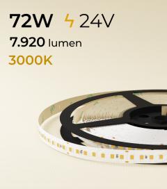 """Striscia LED 2835 """"ECO"""" - 24V - 5 Metri - 72W -  140 LED/m SMD2835 - Bianco CALDO 3000K"""