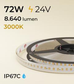 "Striscia LED 2835 ""ECO"" - 5 Metri - 72W - SMD2835 - 140 LED/m - Bianco CALDO - 3000K - IP67"