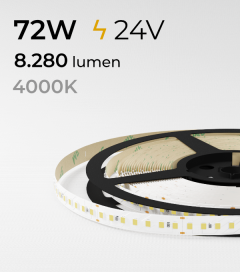 "Striscia LED 2835 ""ECO"" - 24V - 5 Metri - 72W -  140 LED/m SMD2835 - Bianco NATURALE 4000K"