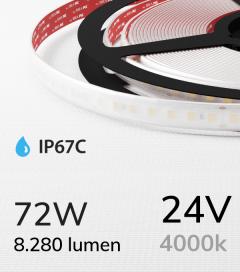"Striscia LED 2835 ""ECO"" - 5 Metri - 72W - SMD2835 140 LED/m - Bianco NATURALE - 4000K - IP67C"