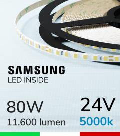 "Striscia LED 2835 ""THIN"" - 5mm x 5 Metri - 80W - 140 LED/m SMD2835 Samsung - CRI90 - BIANCO Freddo 5000K"