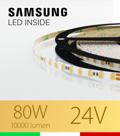 "Striscia LED 2835 ""THIN"" - 5mm x 5 Metri - 80W - 140 LED/m SMD2835 Samsung 2700K Luce Calda"