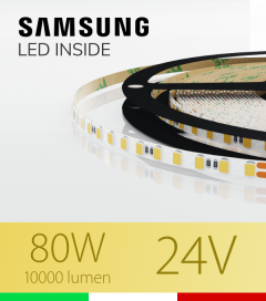 "Striscia LED 2835 ""THIN"" - 5mm x 5 Metri - 80W - 140 LED/m SMD2835 Samsung BIANCO Caldo 3000K"