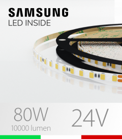 "Striscia LED 2835 ""THIN"" - 5mm x 5 Metri - 80W - 140 LED/m SMD2835 Samsung - CRI90 - BIANCO Naturale 4000K"