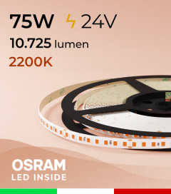 "Striscia LED 2835 ""PRO"" - 24V - 5 Metri - 75W - SMD2835 Osram - 144 LED/m - Luce CALDA - 2200K"