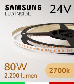 "Striscia LED 2835  ""LEVANTE"" - 5 Metri - 80W -  144 LED/m SMD2835 Samsung - CRI90 - 2700K LUCE CALDA"