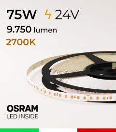 "Striscia LED 2835 ""PRO"" - 24V - 5 Metri - 75W - SMD2835 Osram - 144 LED/m - Luce CALDA - 2700K"