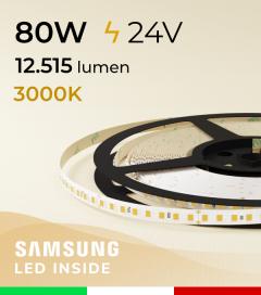 "Striscia LED 2835  ""LEVANTE"" - 5 Metri - 80W -  144 LED/m SMD2835 Samsung - CRI90 - 3000K BIANCO CALDO"