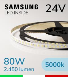 "Striscia LED 2835  ""LEVANTE"" - 5 Metri - 80W -  144 LED/m SMD2835 Samsung - CRI90 - 5000K BIANCO FREDDO"