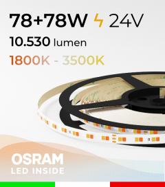 Striscia LED PRO Bianco Dinamico - 15,6W/m+15,6Wm - 160LED/m SMD2835 Osram - da 1800K a 3500K