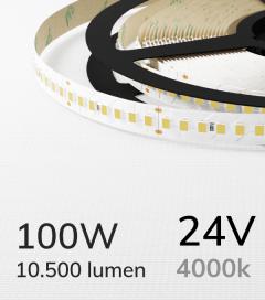 "Striscia LED 2835 ""ECO"" - 24V - 5 Metri - 100W - SMD2835 168 LED/m - Bianco NATURALE - 4000K"
