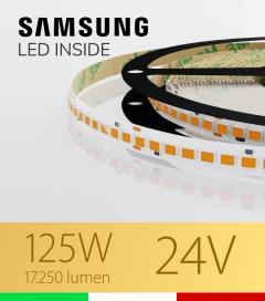 "Striscia LED ""AZIMUT"" - 5 Metri - 125W - SMD2835 SAMSUNG - 176 LED/m  - CRI90 - Luce CALDA 2700K"