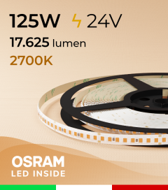 "Striscia LED 2835 ""PRO"" - 24V - 5 Metri - 125W - SMD2835 Osram - 176 LED/m - Luce CALDA - 2700K"