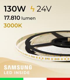 "Striscia LED ""AZIMUT"" - 5 Metri - 130W - SMD2835 SAMSUNG - 176 LED/m - CRI90 - Bianco CALDO 3000K"
