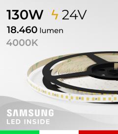 "Striscia LED ""AZIMUT"" - 5 Metri - 130W - SMD2835 SAMSUNG - 176 LED/m - CRI90 - Bianco NATURALE 4000K"