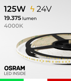 "Striscia LED 2835 ""PRO"" - 24V - 5 Metri - 125W - SMD2835 Osram - 176 LED/m - Bianco NATURALE - 4000K"
