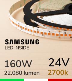 "Striscia LED 2835 ""HORIZON"" - 5 Metri - 160W -  210 LED/m SMD2835 SAMSUNG - CRI90 - Luce CALDA 2700K"