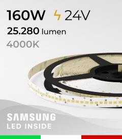 "Striscia LED 2835 ""HORIZON"" - 5 Metri - 160W -  210 LED/m SMD2835 Samsung - CRI90 - Bianco NATURALE 4000K"