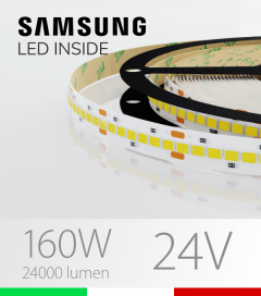 "Striscia LED 2835 ""HORIZON"" - 5 Metri - 160W -  210 LED/m SMD2835 Samsung - CRI90 - Bianco NATURALE 4000K"