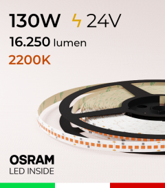 "Striscia LED ""PRO"" Osram - 5 Metri - 130W -  210 LED/m SMD2835 - Luce AMBRA 2200K"