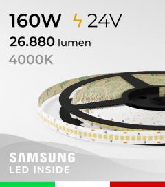 "Striscia LED 2835 ""HORIZON"" - 5 Metri - 160W -  240 LED/m SMD2835 Samsung - CRI90 - Bianco NATURALE 4000K"