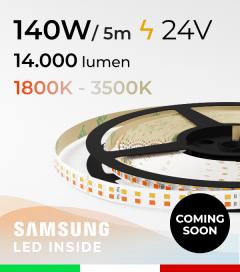 Striscia LED Elite Bianco Dinamico - 28W/m+28Wm - 256LED/m SMD2835 Samsung - da 1800K a 3500K