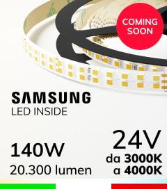 Striscia LED Elite Bianco Dinamico - 28W/m+28Wm - 256LED/m SMD2835 Samsung - da 3000K a 4000K