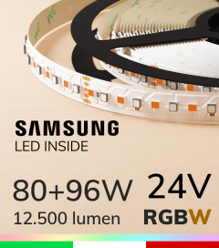 """Striscia LED RGBW """"DYNAMIC RGBW"""" - 5 Metri - 176W - 140 LED/m - SMD3535 Epistar e SMD2835 Samsung CRI90 - RGB + 2700K Luce Calda"""