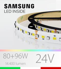 "Striscia LED RGBW ""ELITE"" - 5 Metri - 176W - 140 LED/m - SMD3535 Epistar e SMD2835 Samsung CRI90 - RGB + Bianco - per Cornici Eleni"