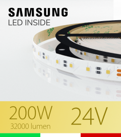 "Striscia LED 3030  ""ELITE"" - 5 Metri - 200W -  80 LED/m SMD3030 Samsung - Bianco CALDO 3000K"