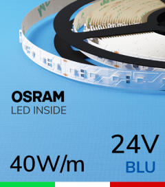 "Striscia LED 3030  ""COLOR"" - 1 Metro - 40W/m -  80 LED/m SMD3030 Osram - BLU"