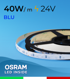 "Striscia LED 3030  ""COLOR"" - 1 Metro - 40W/m -  80 LED/m SMD3030 Osram - BLU"