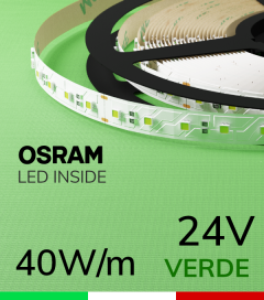 "Striscia LED 3030  ""COLOR"" - 1 Metro - 40W/m -  80 LED/m SMD3030 Osram - VERDE"