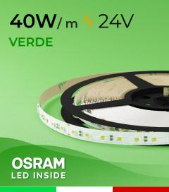 """Striscia LED 3030  """"COLOR"""" - 1 Metro - 40W/m -  80 LED/m SMD3030 Osram - VERDE"""