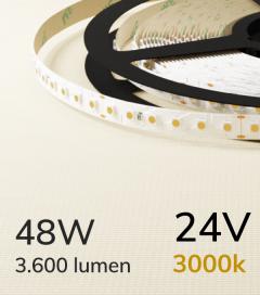 """Striscia LED 3528 """"ECO"""" - 24V - 5 Metri - 48W - SMD3528 120 LED/m - Bianco CALDO - 3000K"""